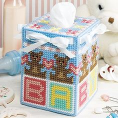 Nursery tissue box cover| 7 mesh plastic canvas- nursery décor- Leisure Arts