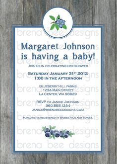 Rustic Blueberry Birthday/ Bridal/Baby Shower by brenabeedesigns, $10.00