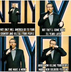 Post with 113 votes and 9463 views. Tagged with ; Frankie Boyle on American Sniper The Comedian, Comedian Jokes, Memes Humor, Funny Jokes, That's Hilarious, True Memes, Funniest Memes, Movie Logic, Frankie Boyle
