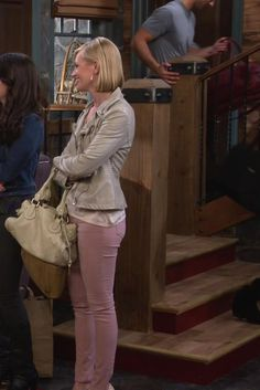 Caroline Channing wearing  Free People Vegan Leather Moto Jacket, 7 For All Mankind The Ankle Skinny Jeans, Tom Ford Patent Leather Pin-Heel Pump, Chloé Paddington Bag