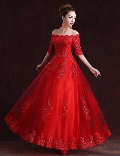 Formal Evening Dress A-line Off-the-shoulder Floor-length Satin Dress – USD $ 89.99