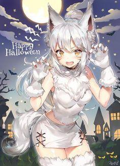 #Halloween #Fille loup garou #Kawaii #Dessin momoco_haru #Manga