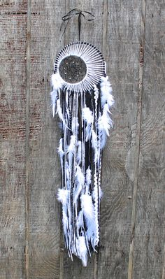 Medium Double Dreamcatcher Black White and by VagaBoundPeople, $39.00 #dreamcatcher #boho