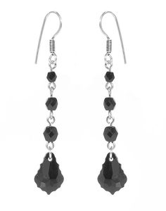 Compliment your Belle Noir Necklace with these lovely black crystal and glass dangles, or wear them on their own for a dressy daytime look.