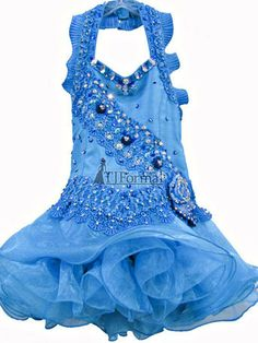 Girls Pageant Dresses - Lil Allie Girls dress BLUE6. Hand dyed charmeuse and lace. Halter bodice with pleated ruffles strap. Made in the USA.