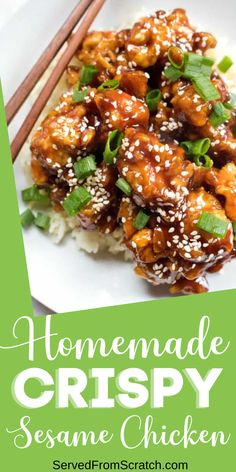 Skip the take-out and make your very own Homemade Crispy Sesame Chicken! It's easier than you think and you can make it with simple and easy ingredients you already have in your pantry! Asian Noodle Recipes, Asian Dinner Recipes, Easy Asian Recipes, Sushi Recipes, Quick Dinner Recipes, Easy Meals For Two, Easy Family Meals, Sesame Chicken, Pantry