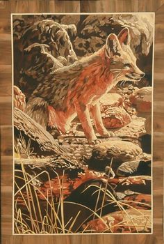 Fox (wood marquetry) It's made of wood. Size: 60*90. For sale