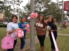 Pink out your campus by tying giant pink ribbons around lightposts and trees, chalking campus sidewalks, or painting windows/doors.