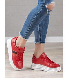 Červené športové topánky Wedges, Sneakers, Shoes, Women, Fashion, Trainers, Moda, Zapatos, Shoes Outlet