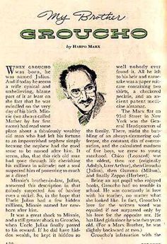 HARPO MARX 1951 FEATURE STORY: MY BROTHER GROUCHO