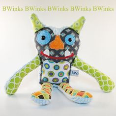 LAST ONE -- BWinks' Plush Stuffed Monster Pillow - Alien Stuffed Friend - Blue and Green Cotton Fabrics with Blue Chenille