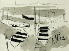 Steps at Morston by Richard Tuff - inspiartion for sketches for prints Gesture Drawing, Line Drawing, Drawing Sketches, Drawings, Sketching, Seascape Paintings, Landscape Paintings, Sketchbook Inspiration, Sketchbook Ideas