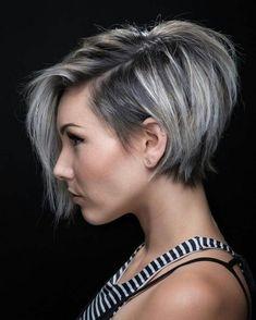 Short bob grey hairstyle - women hairstyle