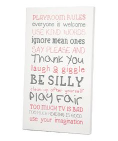 Look what I found on #zulily! Pink 'Playroom Rules' Wall Art by Twelve Timbers #zulilyfinds