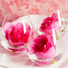 Decorate with Roses - In 1904, the rose became the official flower of the Kentucky Derby. Showcase the beautiful blooms by creating this easy centerpiece. Simply place cut roses and a little water in stemless wineglasses.