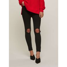 Miss Selfridge LIZZIE Black Large Knee Hole Jeans ($49) ❤ liked on Polyvore featuring jeans, black, miss selfridge and miss selfridge jeans