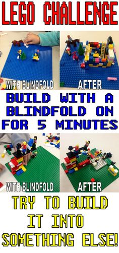Lego Challenge–The Blindfold Challenge – The Lego Librarian Lego Activities, Library Activities, Lego Games, Lego Toys, Enrichment Activities, Legos, Lego Minecraft, Lego Lego, Lego Batman