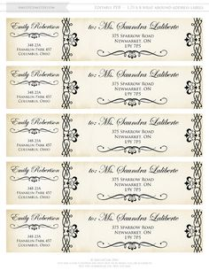 Printable Wrap Around Address Labels EDITABLE Instant by AmeliyCom