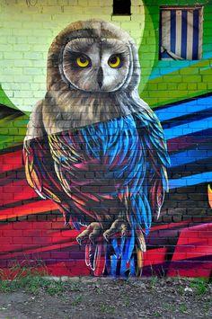 coruja intergaláctica. 000 arte de rua