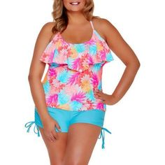 Catalina Women's Plus-Size Tropical Ruffled Halter Tankini Top With Strappy Details, Size: 2XL, Multicolor