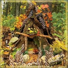 "Pinecone fairy house from the cover of ""Fairy Houses Everywhere"""