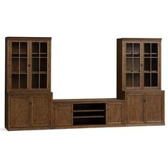 Pottery Barn Logan Large Media Suite with Doors and Glass Towers (211.040 RUB) ❤ liked on Polyvore featuring home, furniture, storage & shelves, entertainment units, antique tv stand, media stand, media cabinet, flat screen tv stand and pottery barn tv stand