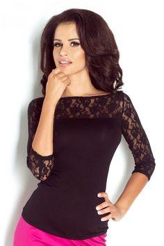 Czarna bluzeczka damska wykończona koronką Black Blouse, Bodysuit, Dresses, Women, Blouses, Style, Products, Fashion, Onesie