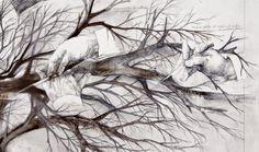 Title: Dream of winter pruning / Sogno della potatura d'inverno Dim: cm 80x100 Tecnique: oil and pencil on canvas / olio, matita su tela Year: 2014