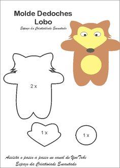 Com muito carinho que desenhei esses moldes de dedoches para serem confeccionados em feltro.     Chapéuzinho       Caçador       Lobo     ...