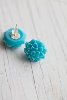 Aqua Flower earrings $10.00, via Etsy.