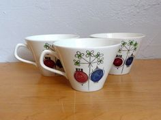 Rorstrand Pomona Set of 3 Cups Marianne Westman Picknick Sweden | eBay