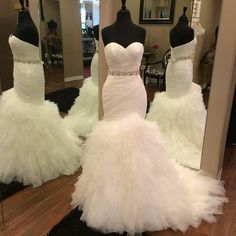 Ruched Sweetheart Pleated Tulle Ruffles Mermaid Wedding Gown,JD 117