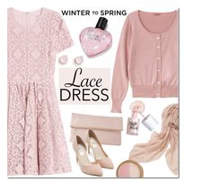 """""""Untitled #405"""" by hajni0103 ❤ liked on Polyvore featuring Burberry, Whistles, Benefit, Victoria's Secret, Stella & Dot, Nly Shoes, Too Faced Cosmetics, Kate Spade, lacedress and Wintertospring"""