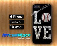 Baseball Love Glitter Phone Case for Iphone 4/4S/5/5S and Samsung Galaxy S3/S4 on Etsy, $14.99