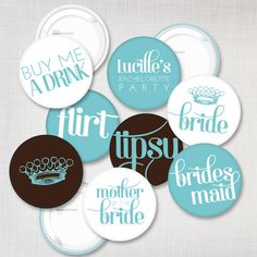 DIY Buttons or Stickers for Bachelorette / Hens Party / Bridal Shower in Tiffany and Brown. $16.00, via Etsy.