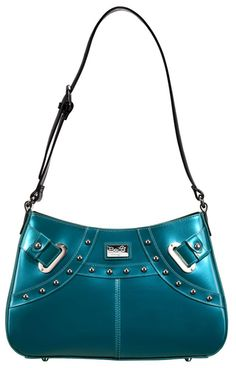 Celebrity Appeal (Teal)    Dimensions: 13″ L x 4″ W x 9″ H - Strap Length: 13.5″ – 10.5″ - Opening: 6″ - Trim Colors: Black - SRP: $110.00 - Available In: Charcoal, Teal, Chocolate, Ebony, Lipstick Red , Moss, Marigold, Platinum