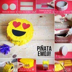 Mini Piñata Emoji paso a paso. Birthday Table, Birthday Party Themes, Emoji Pinata, Party Emoji, Diy Party, Party Ideas, Party Time, Crafts For Kids, Ninja