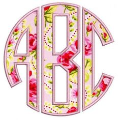 Circle Monogram Applique Machine Embroidery Large Font 3 4 5 inches