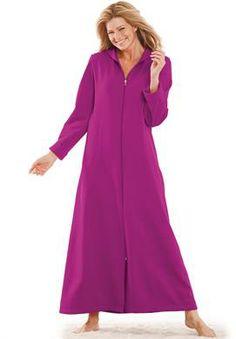 Long ultra-soft fleece hoodie robe by Dreams & Co.®   Plus Size Loungewear   Woman Within  -  (in Iris)
