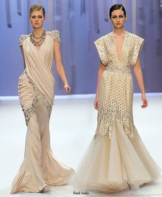 Wrapped in gold - luxurious haute couture dresses from Basil Soda 2010 spring summer collection on the runway