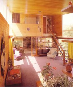 Mid century living room with loft.
