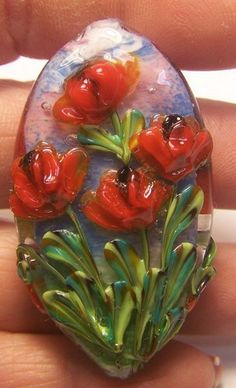 Summer time brings us a dazzling display of flowers I try in a small way to bring them to beads Thought I'd put some red poppy flowers on a focal Vintage Clothing, Vintage Outfits, Jewelry Crafts, Handmade Jewelry, Venetian Glass, Red Poppies, Lampwork Beads, Jewelry Supplies, Poppy