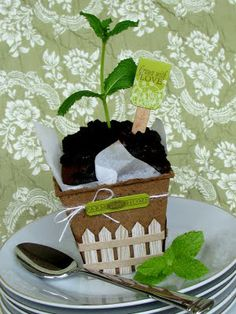 Garden Variety --- Mint chocolate cakes baked in parchment lined seedling cups.  And all cuted up with Papertrey's new Garden Variety stamp set.  Seriously. @ http://jesswitty.blogspot.com/2011/05/garden-variety.html  - - - kind of a dirt cake for grown ups!