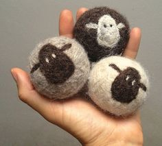 Felt Wool Dryer Balls Set of 3 100% wool by lynnslids on Etsy