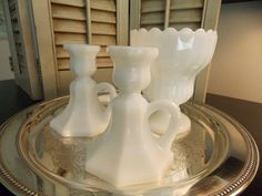 Vintage Milk Glass Candleholders and Vase by VintageCreativeAccen, $12.00