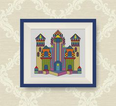 BUY 2 GET 1 FREE Colorful Castle cross stitch by NataliNeedlework