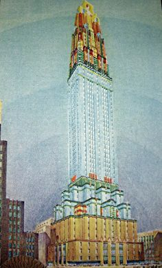 """""""The Fashion Building"""", a proposed skyscraper in NYHC, was to be built on Fifth Avenue. It was designed by William Bergen Chalfant for Amos Parrish & Co in 1930."""