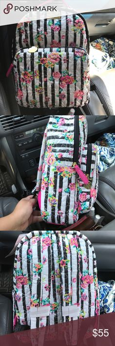 "Betsy Johnson backpack 11""W x 15"" L x 15""D Black and white stripes with florals. Floral embroidery also. Padded material style like Vera Bradley. Bags Backpacks"