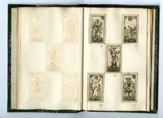 Tarot pack: incomplete pack with 38 of 62 miniature playing-cards for tarocchino pasted (at the British Museum) into a small book.   Etching  Backs plain  17th Century