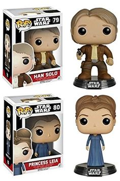 Gorgeous Funko POP! Star Wars Episode 7: Han Solo & Princess Leia - Vinyl Bobble-Head Figure Bundle NEW